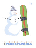 Hidden Valley, Pennsylvania, Snowman with Snowboard Prints by  Lantern Press