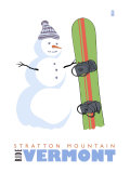 Stratton Mountain, Vermont, Snowman with Snowboard Poster by  Lantern Press
