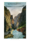 Royal Gorge, Colorado, View of the Bridge and Denver and Rio Grand Railroad Train Art