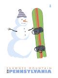 Shawnee Mountain, Pennsylvania, Snowman with Snowboard Posters