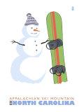 Appalachian Ski Mt, North Carolina, Snowman with Snowboard Prints by  Lantern Press