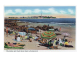 Hampton Beach, NH, View of the Rocks and Great Boars Head from Beach Prints by  Lantern Press