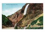 Ogden Canyon, Utah, View of Waterfalls over a Railroad Bridge Prints