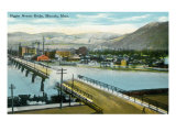 Missoula, Montana, Aerial View of the Higgins Avenue Bridge Prints by  Lantern Press