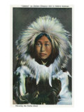 Alaska, View of Obleka, an Eskimo Native Girl in Costume Posters by  Lantern Press