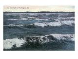 Burlington, Vermont, View of a Wavy Lake Champlain Art by  Lantern Press