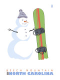 Beech Mountain, North Carolina, Snowman with Snowboard Print by  Lantern Press
