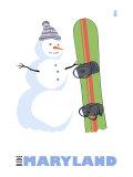 Maryland, Snowman with Snowboard Prints by  Lantern Press