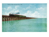 Utah, View of the Great Salt Lake Lucin Cut-off, Train on RR Bridge Posters by  Lantern Press