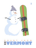 Mount Snow, Vermont, Snowman with Snowboard Posters
