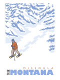 Stylized Snowshoer, Missoula, Montana Prints by  Lantern Press