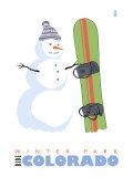 Winter Park, Colorado, Snowman with Snowboard Prints by  Lantern Press