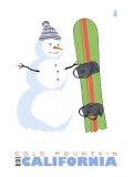 Gold Mountain, California, Snowman with Snowboard Prints by  Lantern Press