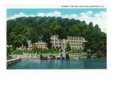 Montreat, North Carolina, Exterior View of the Assembly Inn and Lake Susan Prints by  Lantern Press