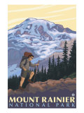 Mount Rainier, Hiker Prints by  Lantern Press