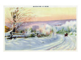 Maine, A Snowy Winter-time Scene in Maine Prints