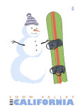 Snow Valley, California, Snowman with Snowboard Posters