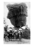 Colorado Springs, Colorado, View of Ladies on Burros by Balanced Rock Prints by  Lantern Press