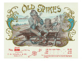 Old Spikes Brand Cigar Box Label, Railroad Poster
