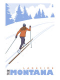 Cross Country Skier, Lakeside, Montana Prints