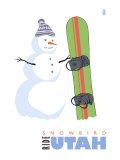 Snowbird, Utah, Snowman with Snowboard Prints by  Lantern Press
