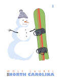 Wolf Laurel, North Carolina, Snowman with Snowboard Prints