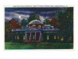 Virginia, Exterior View of the Monticello at Night near Charlottesville Art