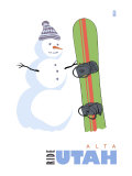 Alta, Utah, Snowman with Snowboard Poster by  Lantern Press
