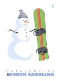 Cataloochee, North Carolina, Snowman with Snowboard Poster by  Lantern Press