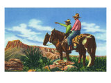 New Mexico, Two Cowboys on Horseback, One Pointing Prints by  Lantern Press