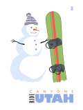 Canyons, Utah, Snowman with Snowboard Posters by  Lantern Press