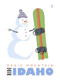 Magic Mountain, Idaho, Snowman with Snowboard Posters