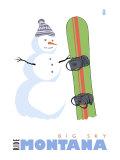 Big Sky, Montana, Snowman with Snowboard Print