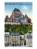 Quebec, Canada, Exterior View of the Chateau Frontenac from Lower Town Posters par  Lantern Press