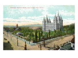 Salt Lake City, Utah, General View of Mormon Temple Park with the Temple Poster