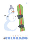 Snowmass, Colorado, Snowman with Snowboard Poster by  Lantern Press