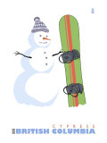 Cypress, BC, Canada, Snowman with Snowboard Prints