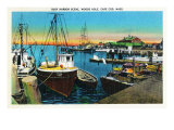 Cape Cod, Massachusetts, View of a Busy Woods Hole Harbor Scene Prints