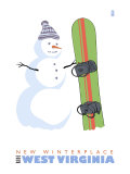New Winterplace, West Virginia, Snowman with Snowboard Prints by  Lantern Press