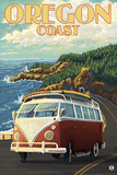 Oregon Coast, Cruising the Coast, VW Bug Van Art by  Lantern Press