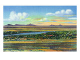 Albuquerque, New Mexico, View of the Rio Grande and Volcanoes from Air Base Art