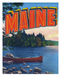 Maine, Greetings From with Canoe on the Lake Posters