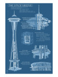 Seattle, WA, Space Needle Technical Drawing Art by  Lantern Press