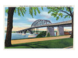 Buffalo, NY, Peace Bridge Crossing Niagara River View, Fort Erie, Ontario in Distance Prints