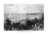 Staten Island, New York, Panoramic View of the Narrows, Ships Leaving Shore Prints by  Lantern Press