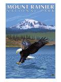 Mt. Rainier National Park, Washington, Eagle Fishing Affischer av  Lantern Press