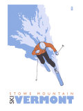 Stowe Mountain, Vermont, Stylized Skier Prints