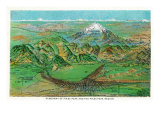 Colorado, Panoramic View of Pikes Peak and the Region, Map Prints