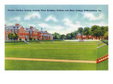 Williamsburg, VA, William and Mary College View of the Sunken Garden, Wren Building Prints