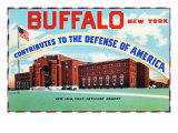 Buffalo, New York, Large Letters, Exterior View of the 106 Field Artillery Armory Building Prints by  Lantern Press